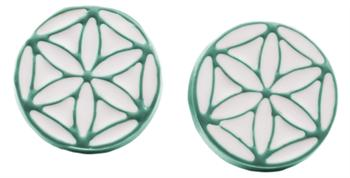 Overseas Highway Aqua and White Geo Circle Earrings